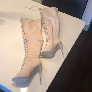 Shoes - Pale Pink Lace Up Thigh High Boots